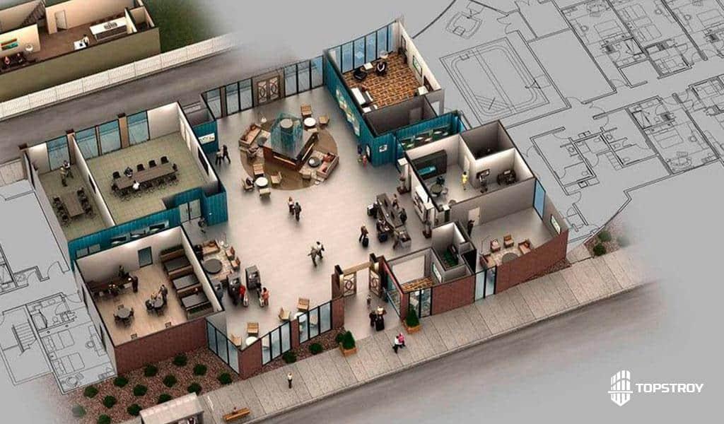 Проектирование всех помещений офиса 3D