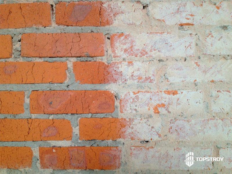 Результат пескоструйной обработки кирпичной стены