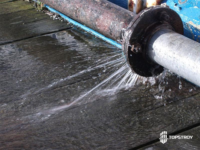 Протечка в водопроводной сети