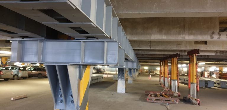 Усиление несущих конструкций – стоянка гипермаркета «Глобус»